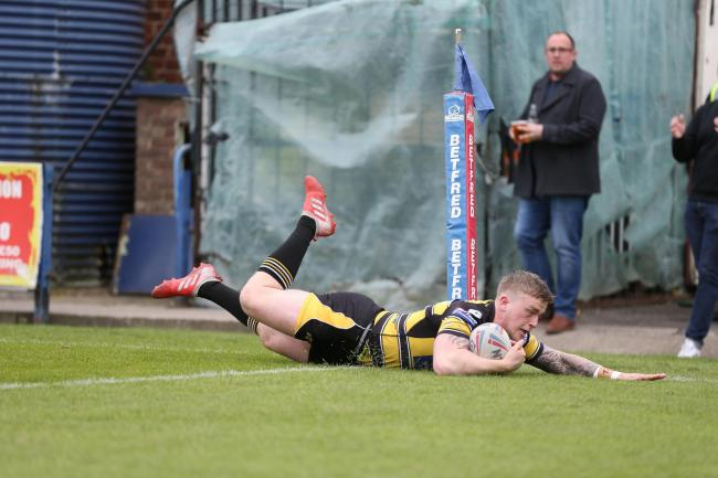 Connor Robinson goes over for York City Knights' try in their Betfred Championship clash against Batley Bulldogs at Bootham Crescent. Picture: Gordon Clayton