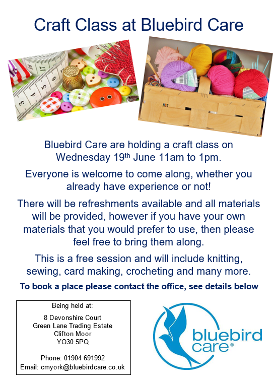 Craft Class at Bluebird Care