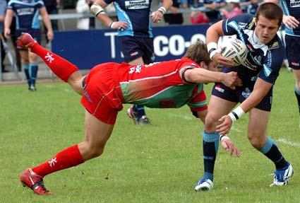 York City Knights player Gareth Moore in action against Workington. York City Knights 46, Workington 20.
