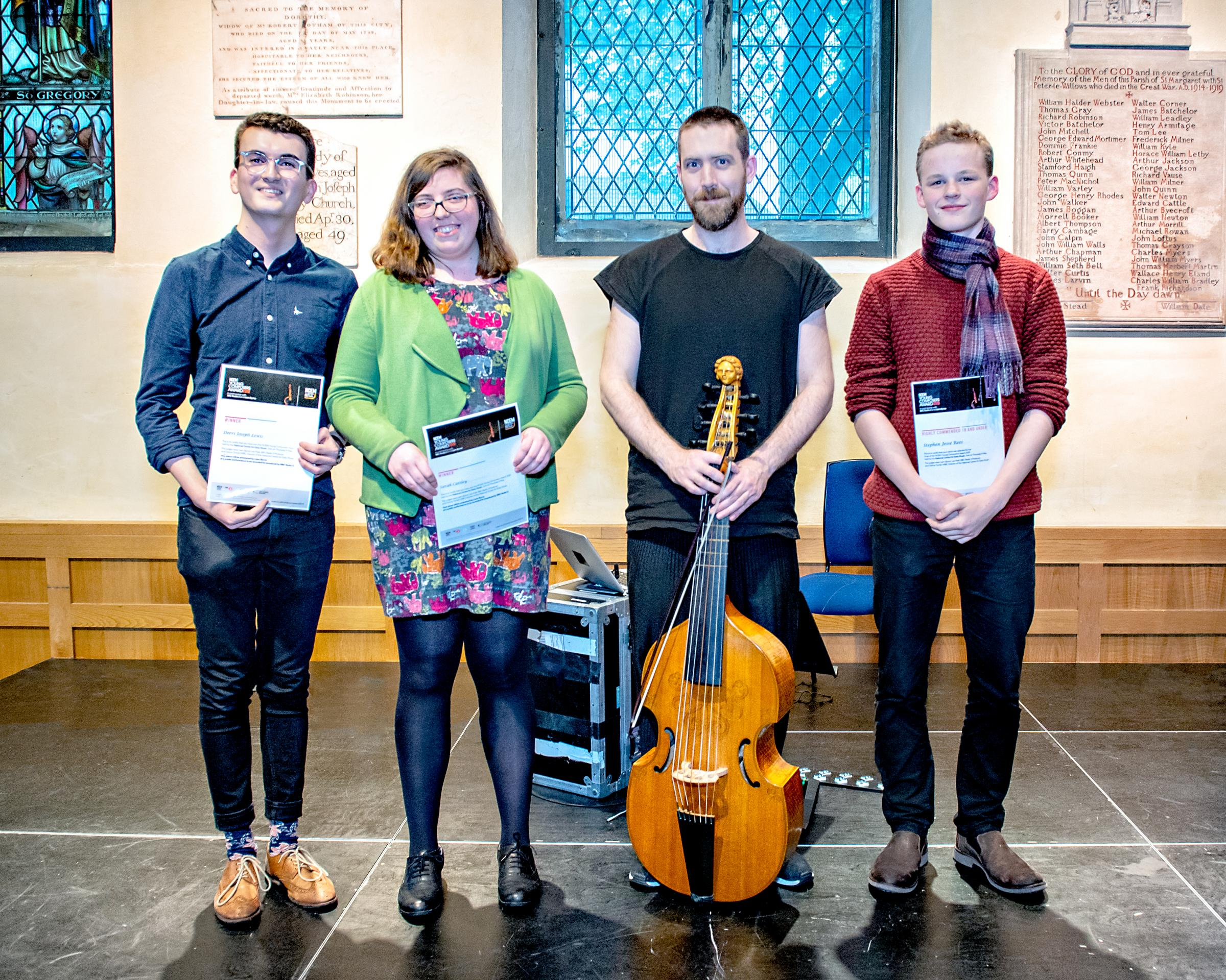 Congratulations: NCEM Young Composers Award winners Derri Joseph Lewis and Sarah Cattley with viol player and the highly commended Stephen Jesse Rees at the National Centre for Early Music, York