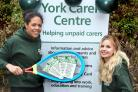 York Carers Centre staff celebrate after receiving a grant from Children In Need with (l-r) Jess Tomori and Hannah Crosby  Picture: Frank Dwyer