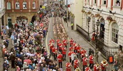 The 1st Battalion, the Yorkshire Regiment parade through the streets of York to celebrate their homecoming from overseas operations. The parade passes the Mansion House, where the salute was taken by the Lord Mayor of York, Coun John Galvin.