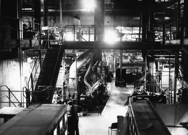 1977 - Production goes on day and night in the Redfearn National Glass factory.