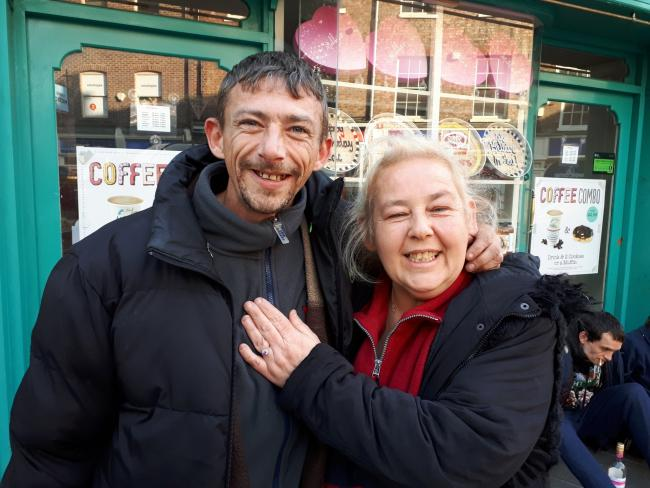 Marc Cullen and Maggie Lewis, a homeless couple in York who got engaged at the city's Hoping Street Kitchen
