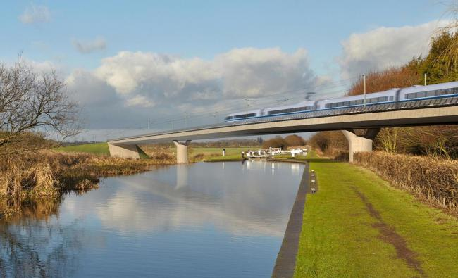WHITE ELEPHANT? Artist's impression of an HS2 train on the Birmingham and Fazeley viaduct. Picture: HS2/PA Wire