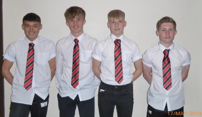 Awarded for playing in all five seasons for York Schoolboys were, from left to right, Will Hollings, Taylor Bell, Oliver Kilvington and Todd Edgar. Doing likewise but not pictured was George