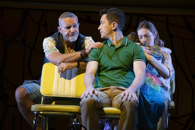 ROAD TRIP: Mark Moraghan as Grandpa, Gabriel Vick as Richard and Lucy O'Byrne as Sheryl in Little Miss Sunshine. Picture: Richard H Smith