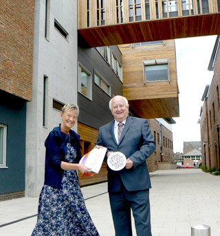 Dianne Willcocks, York St John University's vice-chancellor, and Colin Parkin, the university's director of facilities, with the Lord Mayor's York Design Award