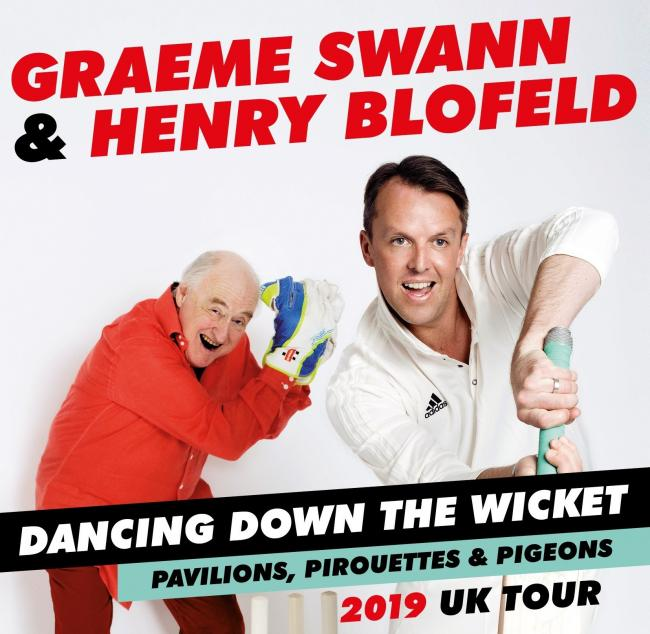 Double act: Henry Blofeld and Graeme Swann at Grand Opera House, York