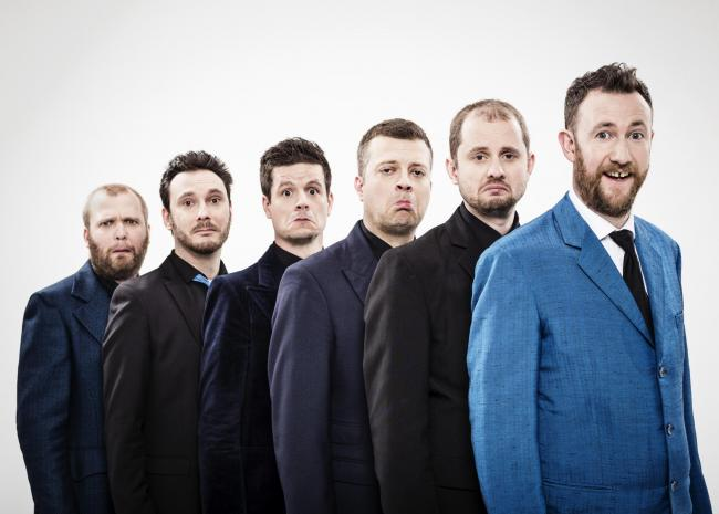 RAUCOUS SHINDIG: Alex Horne, left, leading The Horne Section at York Barbican