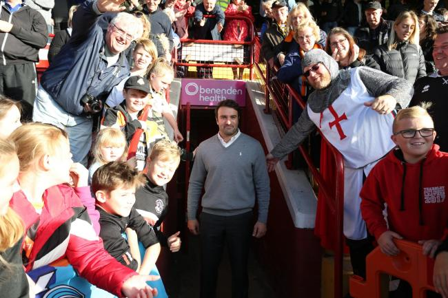 York City Knights coach James Ford with some of the crowd at Bootham Crescent. Picture: Gordon Clayton