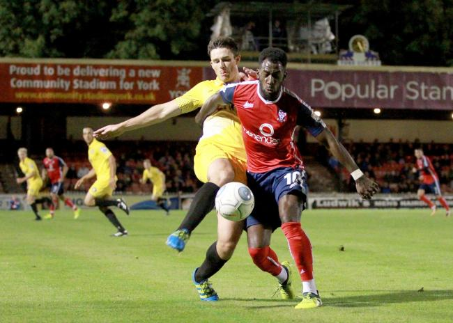 Tadcaster Albion have brought in Ioan Evans, here in action for Gainsborough Trinity at Bootham Crescent. Picture: Gordon Clayton