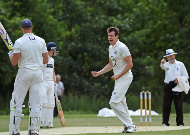 ABANDONED: Dunnington bowler Jonathan Anderson, who took the only wicket of a washout weekend in Yorkshire Premier League North, removing Yorkshire Academy captain James Wharton for one run. Picture: David Harrison