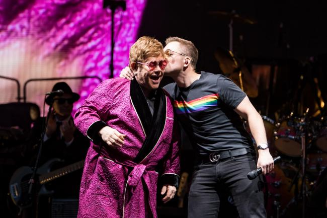Taron Egerton joins Elton John for Your Song duet during Hove show