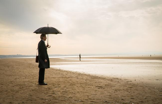 MONSTROUSLY INSENSITIVE: Bill Nighy as Alan, on Crosby Beach,  in Sometimes Always Never