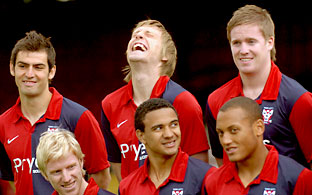 Skipper Daniel Parslow finds something amusing at the club's official photocall