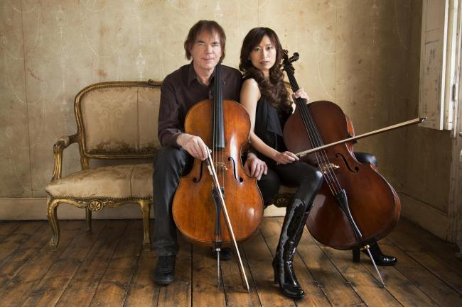 Cello and chat: Julian Lloyd Webber and his wife, cellist Jiaxin Lloyd Webber, at the Wesley Centre, Malton, this weekend
