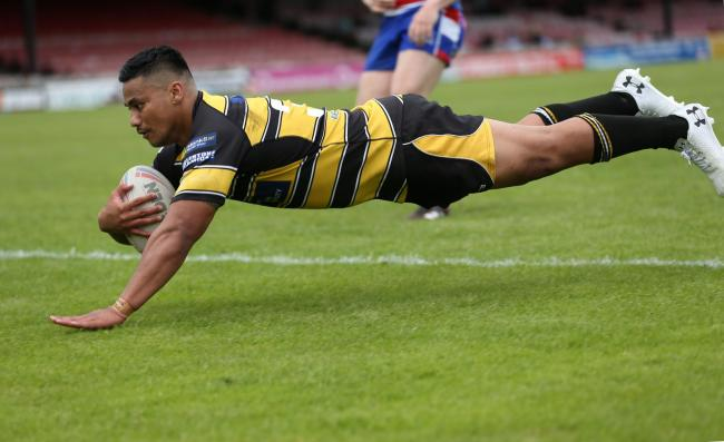 Taioalo 'Junior' Vaivai touches down his long-range try during York City Knights' 60-0 Betfred Championship thrashing of Rochdale Hornets at Bootham Crescent. Picture: Gordon Clayton